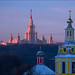 Russia. Moscow. Andreevsky Monastery and Moscow State University. by Yuri Degtyarev