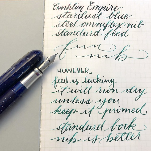 Conklin Empire Stardust Blue Fountain Pen with OmniFlex Nib  2