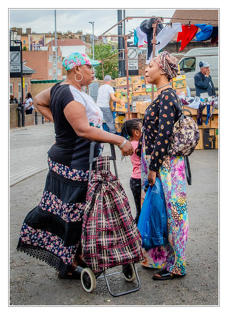 Two women at market