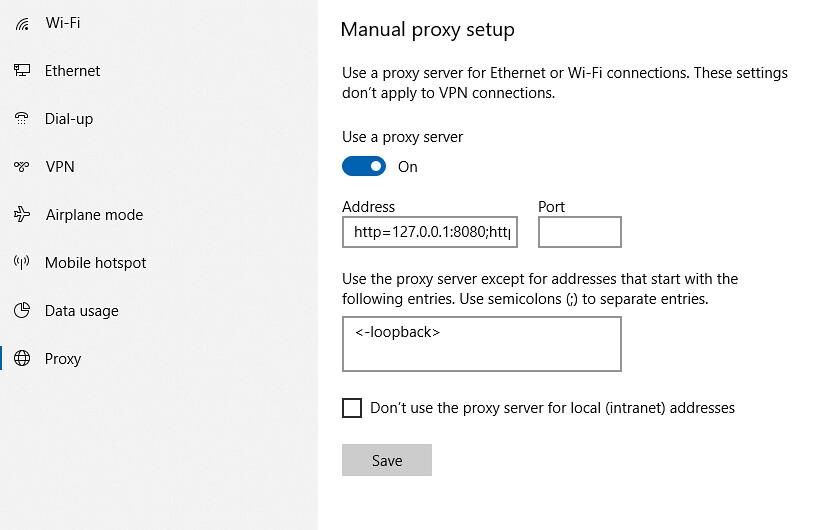 Proxy Windows 10