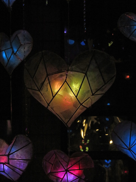 Heart lights at the Lumière sites, an annual winter event inspired by lighting up the long winter nights of Downtown Vancouver