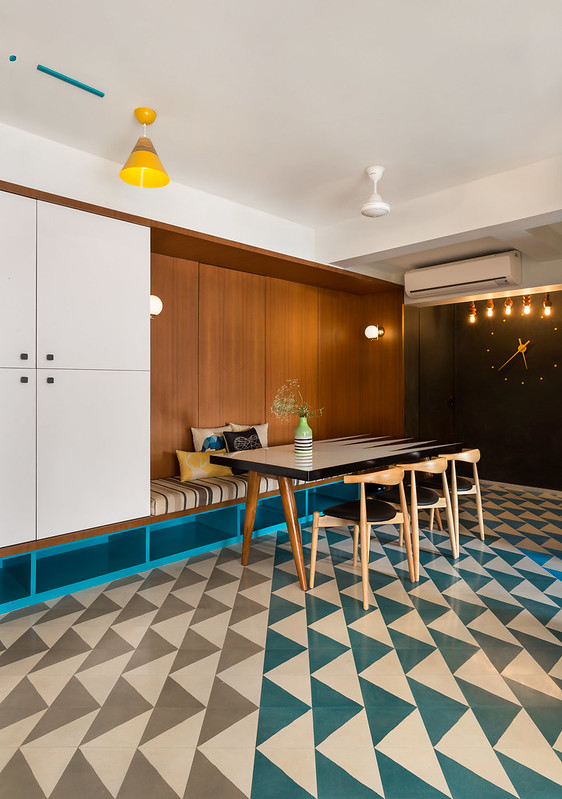 Colorful Patterned Cement tiles from Bharat flooring in this quirky apartment