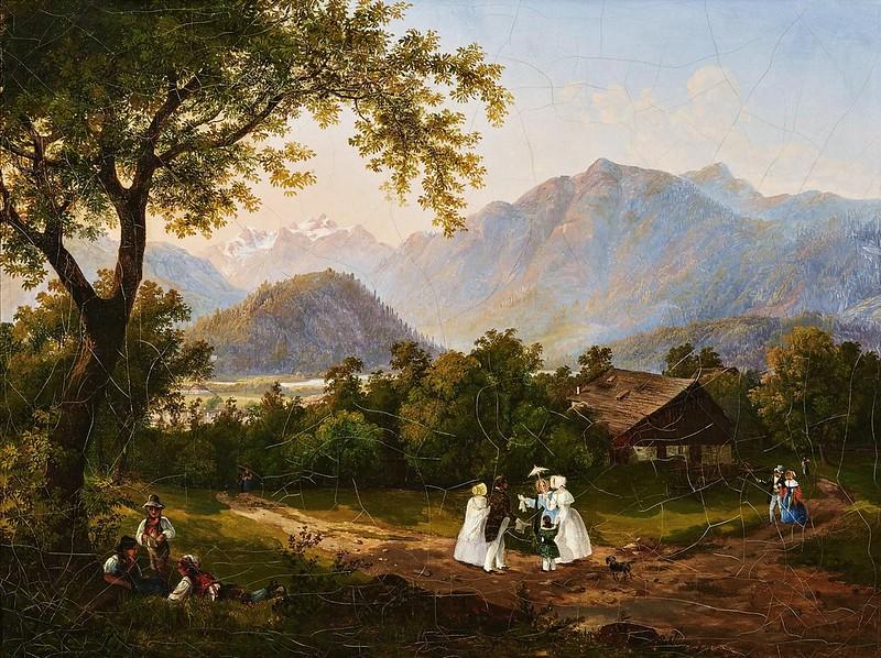 Joseph Altenkopf - Spaziergänger in Voralpenlandschaft (1846)