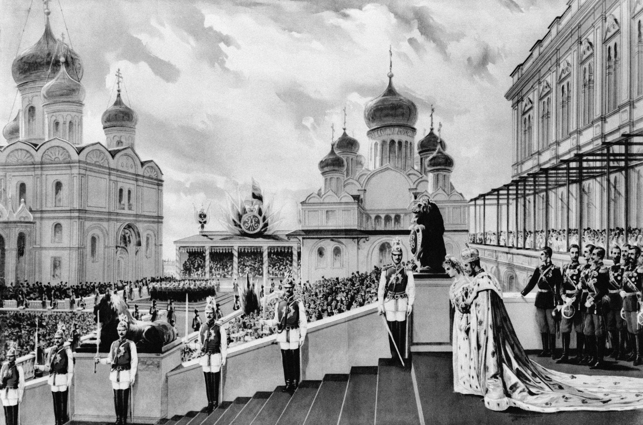 Царь Николай II и его жена Александра Федоровна в Кремле