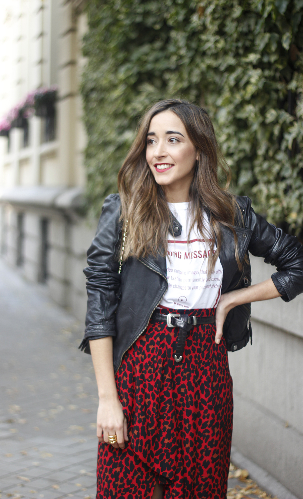 midi skirt red leopard print trend black biker jacket converse street style fall outfit 20186099