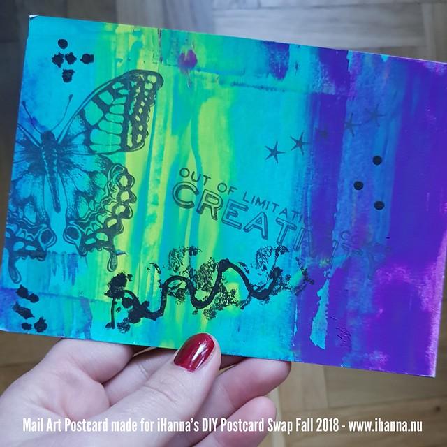 DIY Postcard by Deborah sent to me in iHanna's DIY Postcard Swap Fall 2018