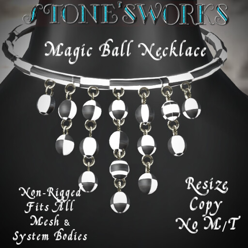 Magic Ball Necklace B&W Stone's Works - TeleportHub.com Live!