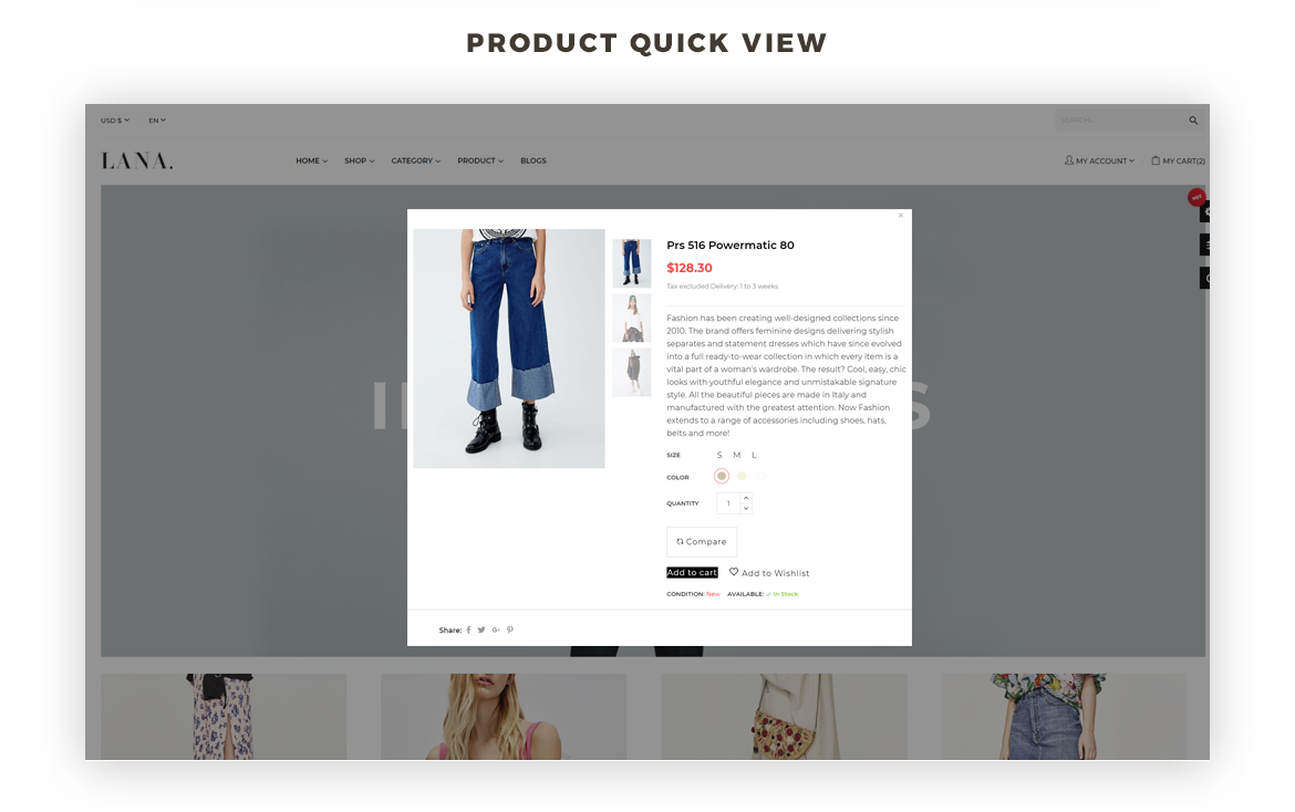 product quickview - best fashion prestashop theme