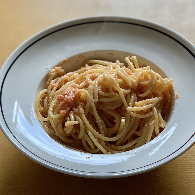 spaghetti with salted cod roe sauce