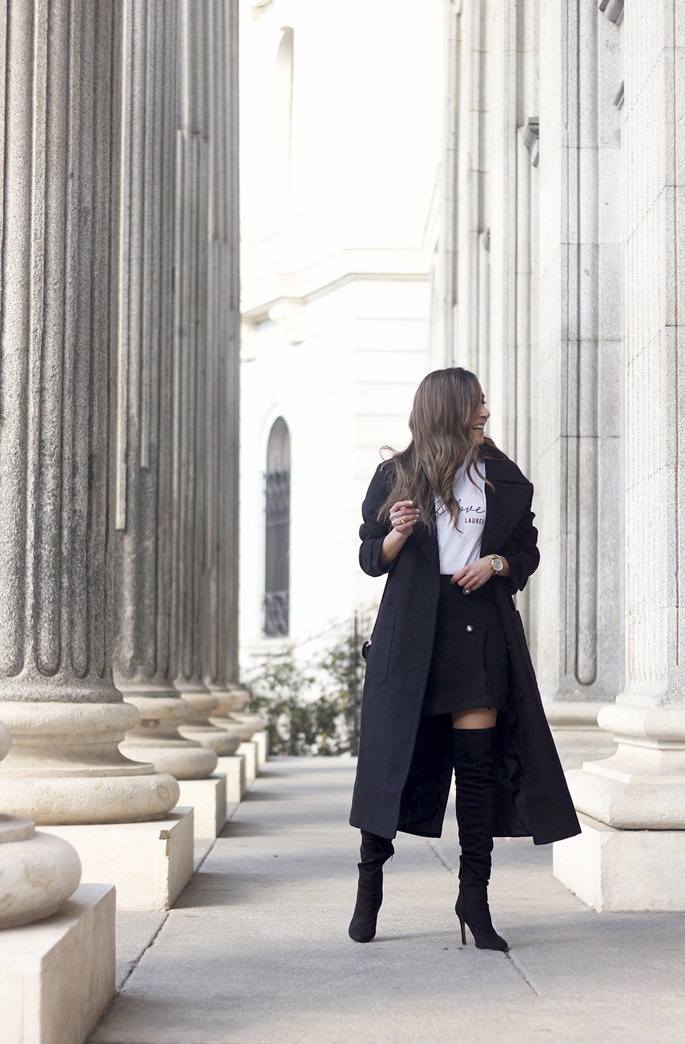 tweed skirt over the knee boots black trench coat street style outfit 20191