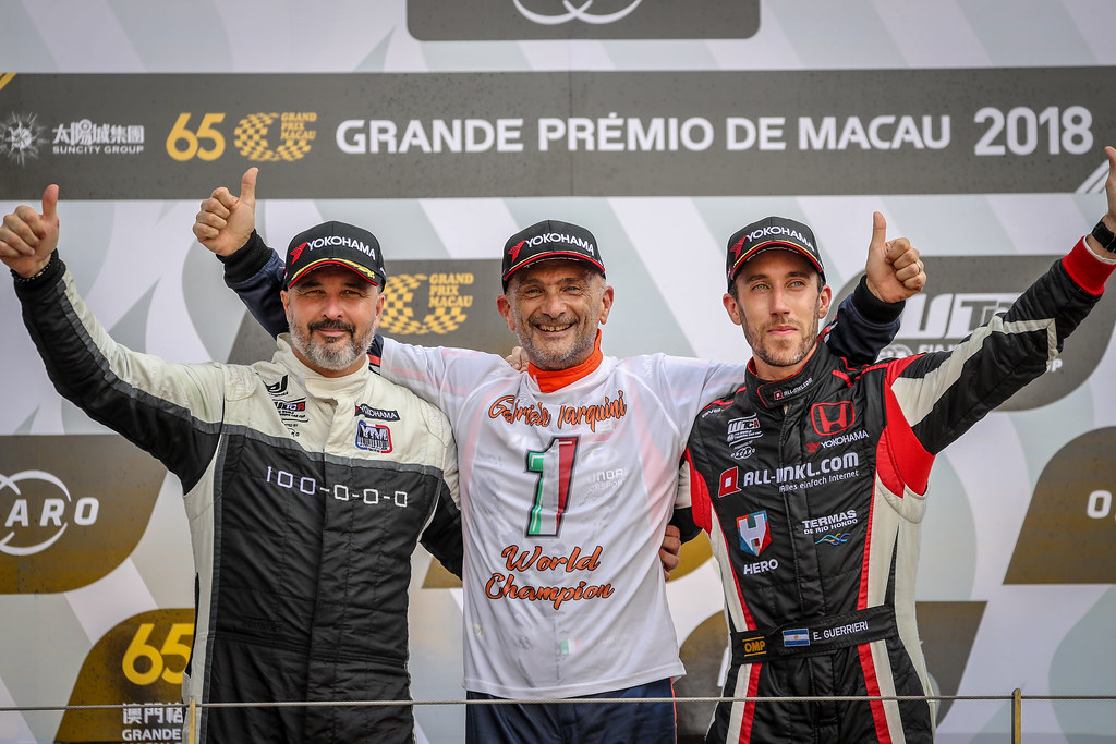 MULLER Yvan, (fra), Hyundai i30 N TCR team Yvan Muller Racing, portrait, TARQUINI Gabriele, (ita), Hyundai i30 N TCR team BRC Racing, portrait, GUERRIERI Esteban, (arg), Honda Civic TCR team ALL-INKL.COM Munnich Motorsport, portrait during the 2018 FIA WTCR World Touring Car cup of Macau, Circuito da Guia, from november  15 to 18 - Photo Alexandre Guillaumot / DPPI