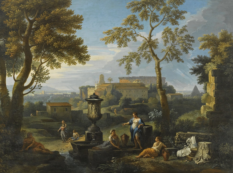 Jan Frans van Bloemen, called l'Orizzonte - An Italianate landscape with classical figures