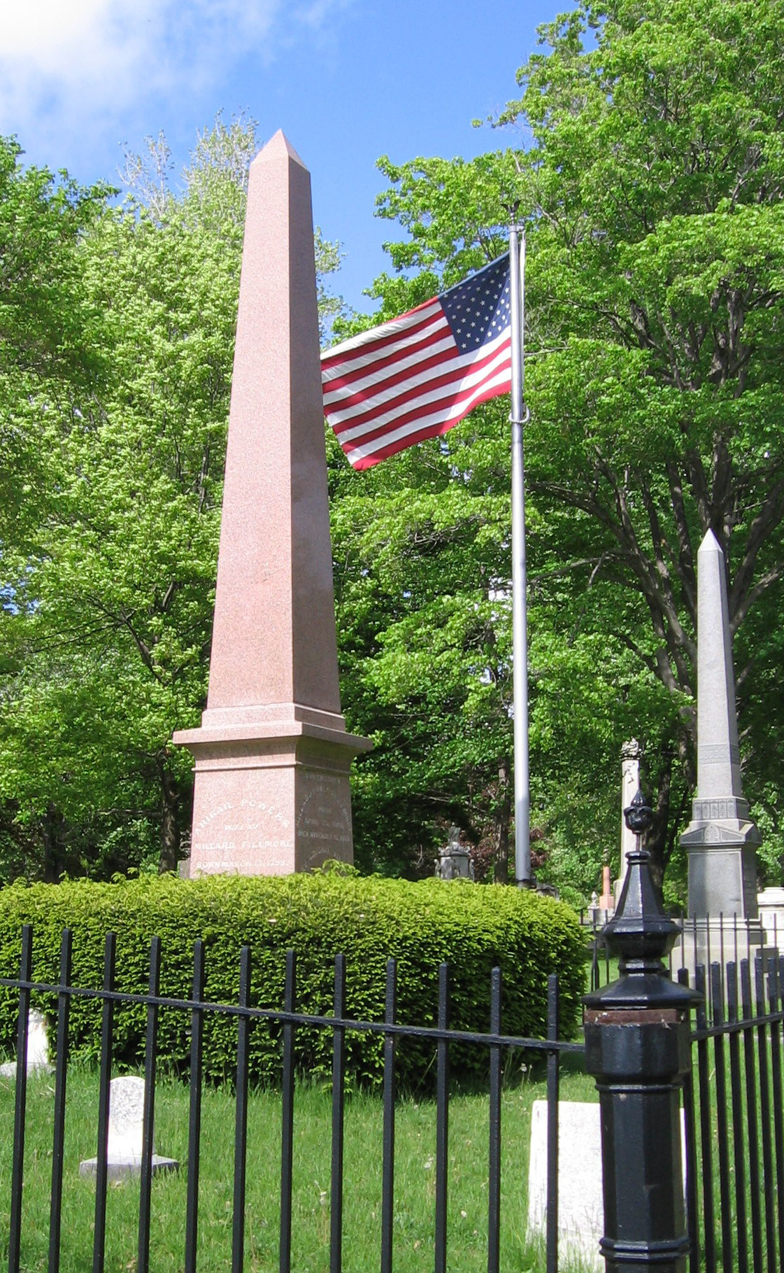 A pink obelisk marks Millard Fillmore's gravesite at Forest Lawn Cemetery in Buffalo, New York. Photo taken on May 19, 2006.