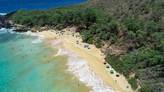 Aerial of Hawaii Maui Makena Little Beach