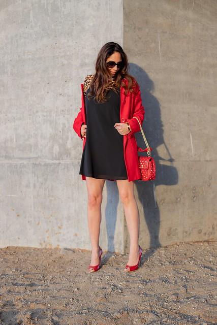 slinky black dress with animal print turtleneck