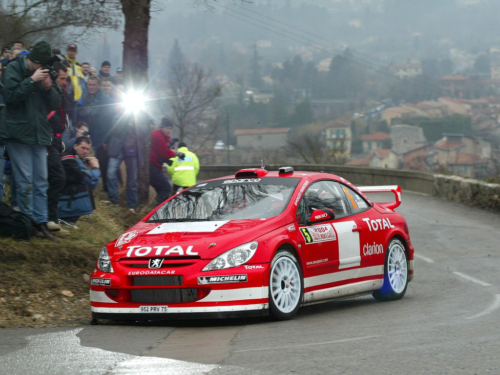 Marcus Grönholm driving a Peugeot 307 WRC on the 2004 Monte Carlo Rally.