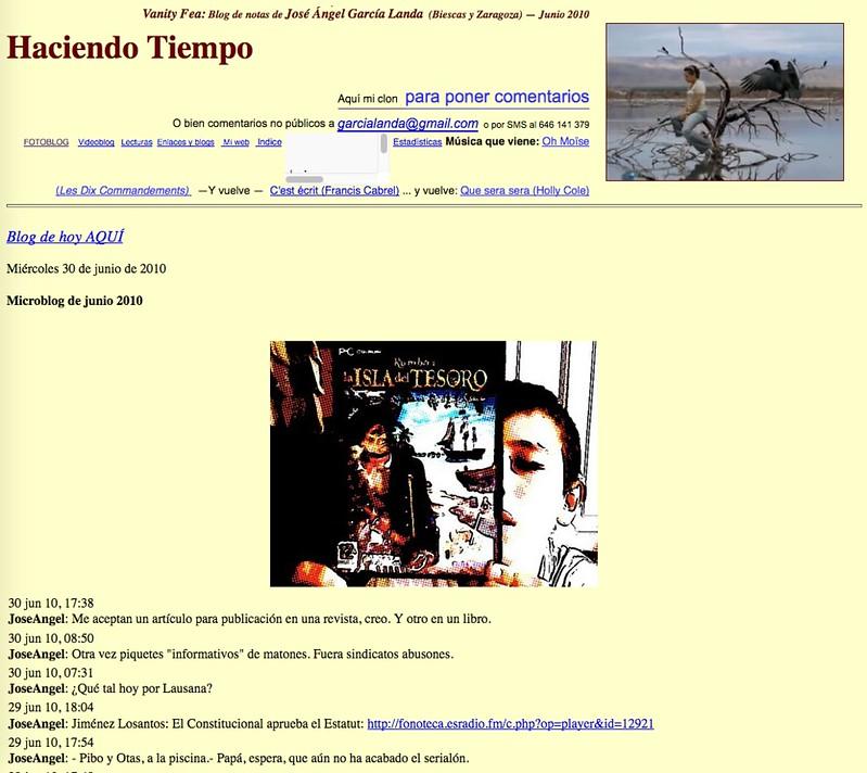 Haciendo Tiempo (Blog de notas de junio de 2010)