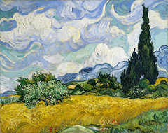 Wheat Field with Cypresses (1889) by Vincent Van Gogh. Original from the MET Museum. Digitally enhanced by rawpixel.