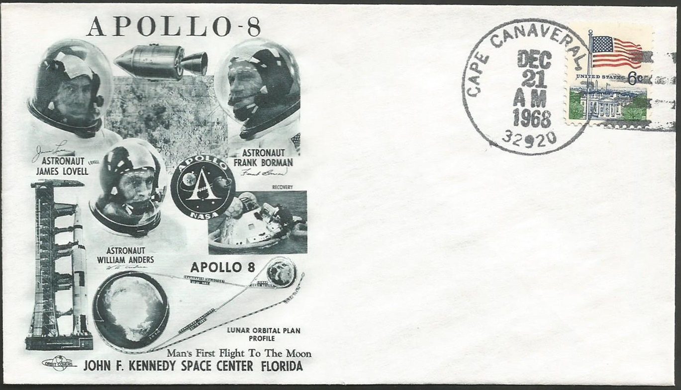 Apollo 8 launch cover with Cape Canaveral, Florida, postmark, December 21, 1968.