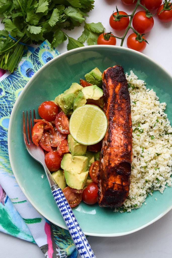 Chipotle Salmon with Mexican Cauliflower Rice, Tomato & Avocado