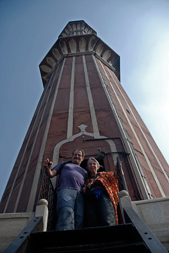 Standing at the entrance to one of the minarets at a mosque in Old Delhi, India