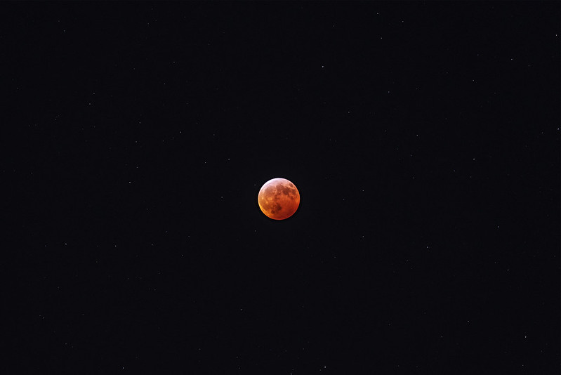 Blood Moon With Stars