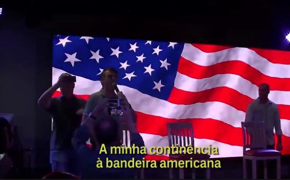 Jair Bolsonaro presta continência à bandeira dos Estados Unidos em Miami, nos Estados Unidos - Créditos: Reprodução