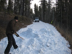 Distributing snow prior to Ginzu renovation