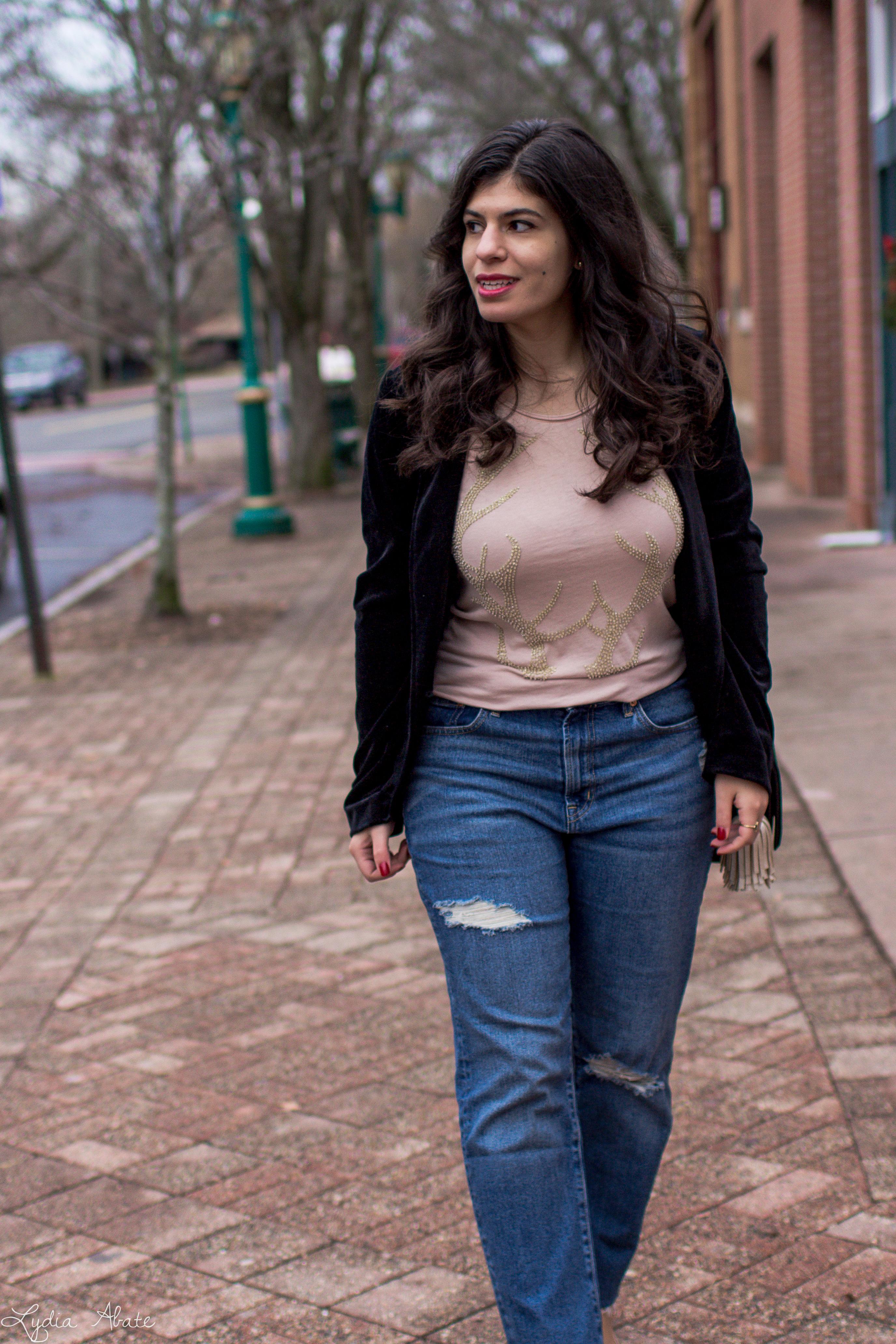 velvet blazer, distressed jeans, antler tee, nude pumps-6.jpg