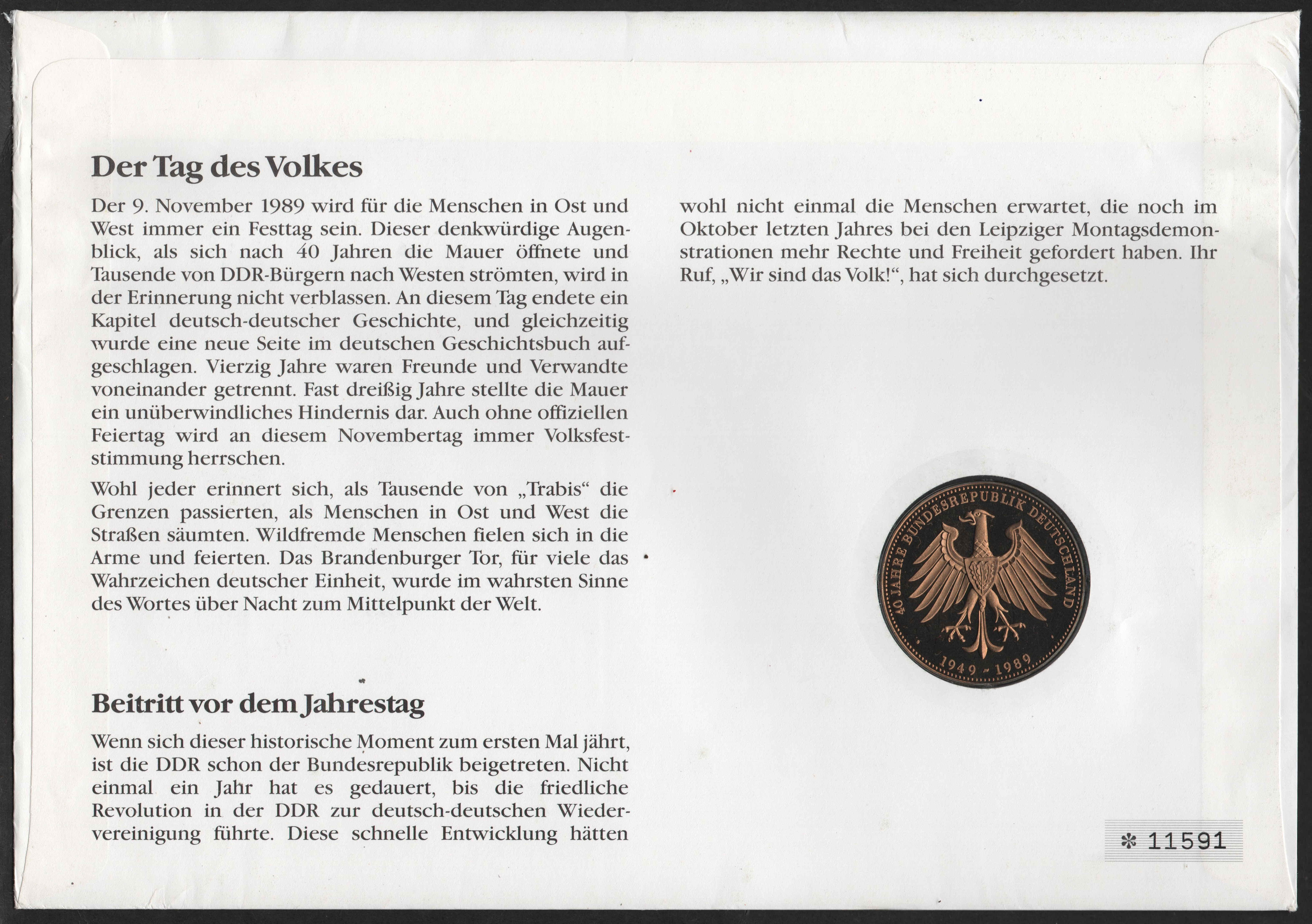 Germany - Scott #1617-1618 (1990) cover commemorating first anniversary of the fall of the Berlin Wall.