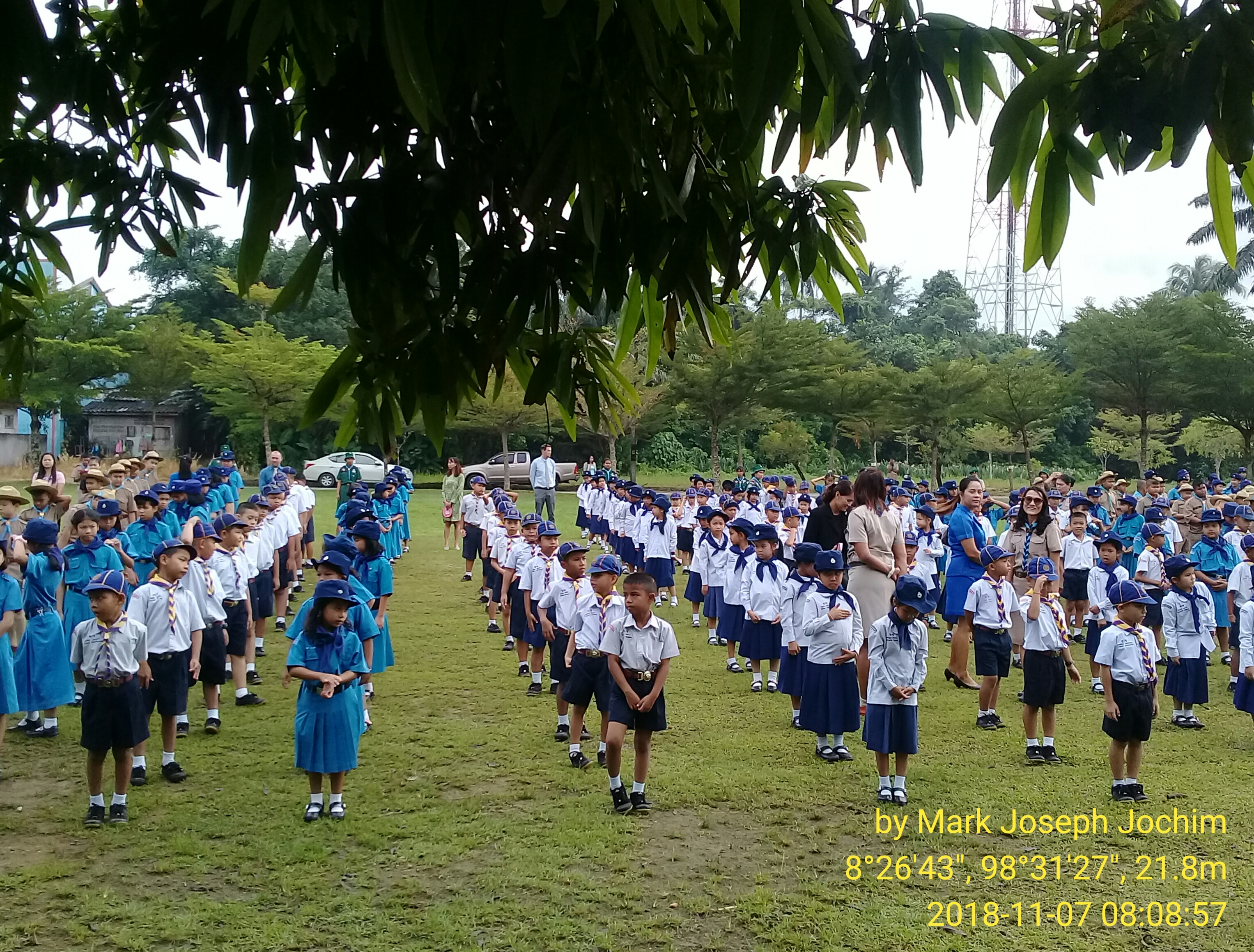 Scouts ready for inspection during morning assembly/flag ceremony at Ban Thai Chang Municipal School in Phang Nga Town, Thailand. Photo taken by Mark Joseph Jochim on November 7, 2018.
