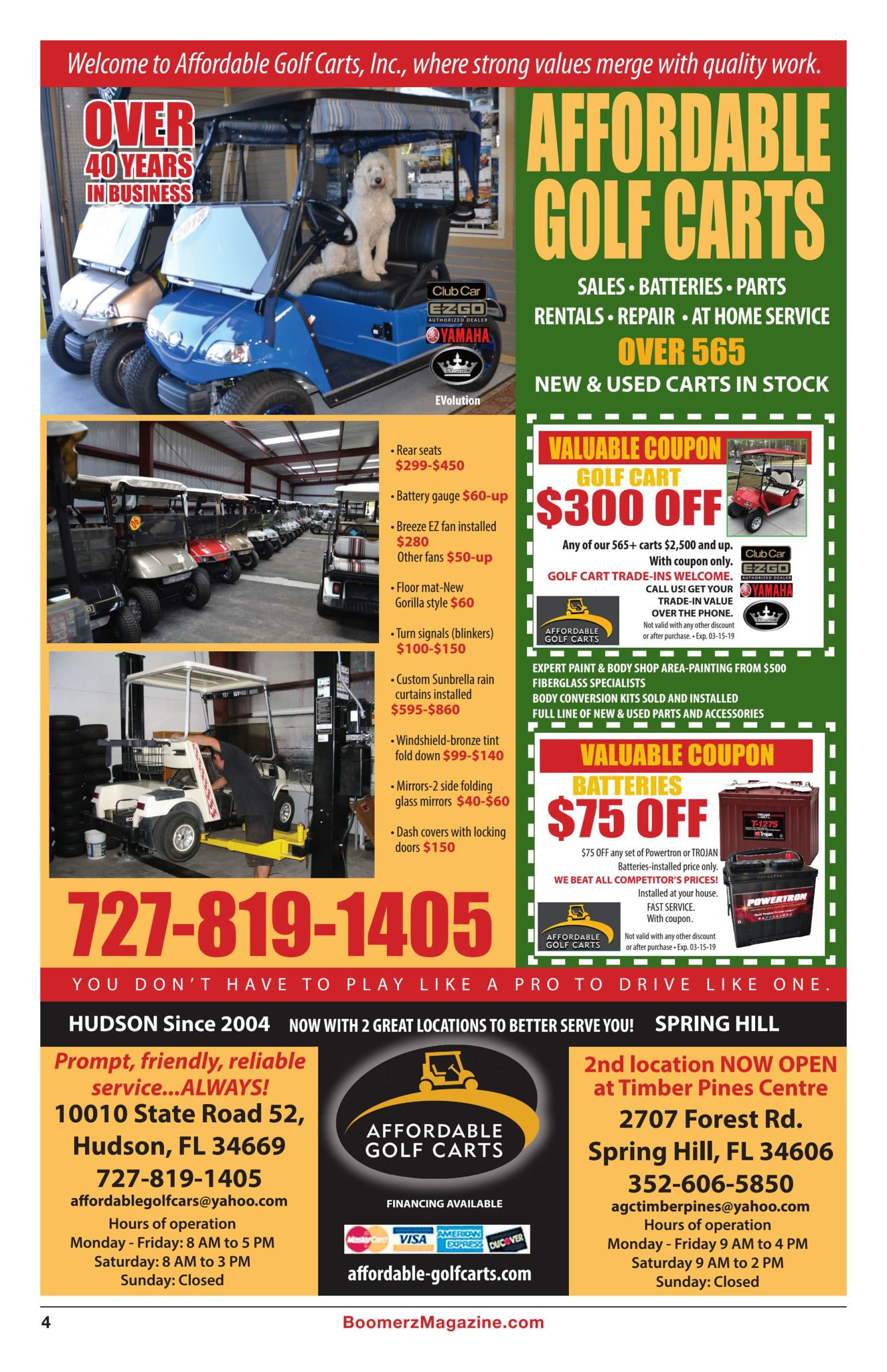 Boomerz Magazine 2018 November Affordable Golf Carts Ad