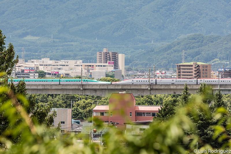 Shinkansen pasando por Morioka