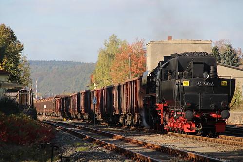2018-10-20; 0163. ZL ETB 44 1486-8  en SL IGE Werrabahn 52 1360-8 met GZ 404. Immelborn. Plandampf im Werratal, Dampffinale.