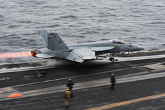 An F/A-18E Super Hornet launches from USS Harry S. Truman (CVN 75).