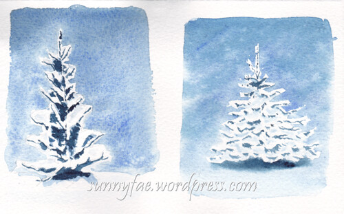 two watercolour winter trees