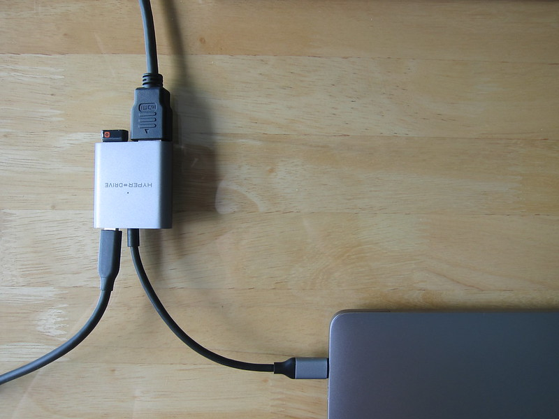 HyperDrive 4K HDMI 3-in-1 USB-C Hub - Attached to MacBook Pro