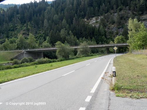 RHE157 Motorway A13 Road Bridge over the Hinterrhein River, Zillis-Reischen, Canton of Graubünden, Switzerland