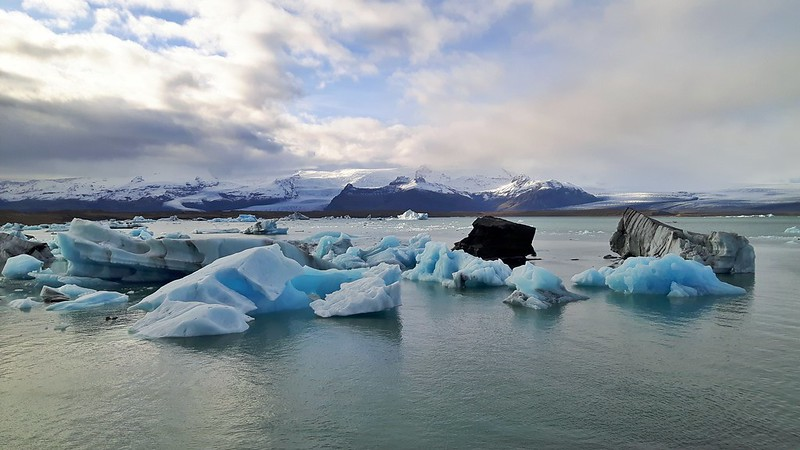 Icebergs floating in Jokulsarlon Glacier Lagoon, South Coast Iceland