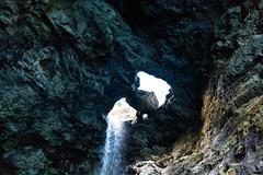 Waterfall hole twins Na Pali Coast Kauai Hawaii