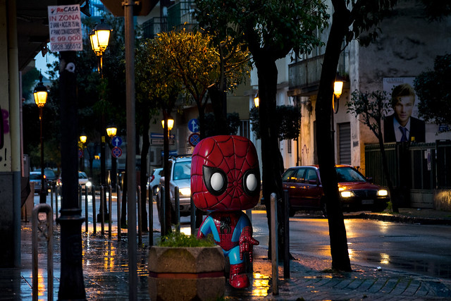 Your friendly spiderman! #photoshop #podtproduction #ps #pp #spiderman #city #lights #rain #reality #illusion