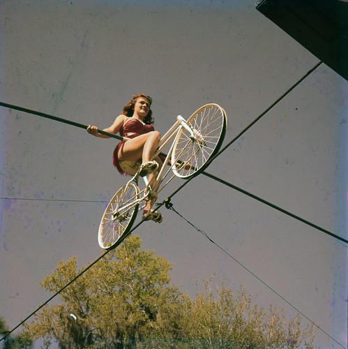 Carla Wallenda, of the Flying Wallendas daredevil circus act, shown during practice in Sarasota