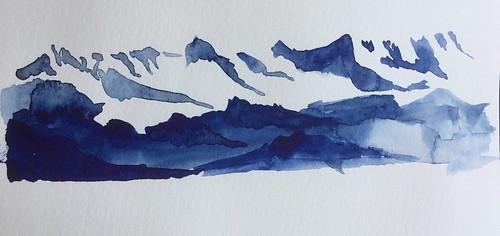 Que c'est beau, la montagne en hiver.  Aquarelle directe, bleu d'indanthrone Daniel Smith