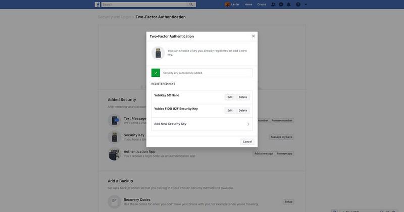 Facebook Security Key