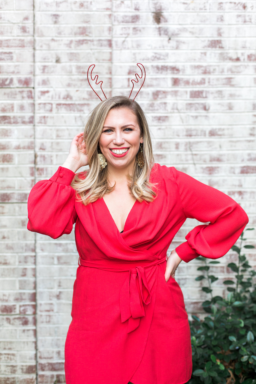 Red Wrap Dress Christmas Photo Reindeer Antler Headband | Darien, CT Kristina Staal Photography