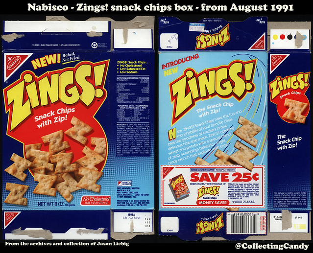 Nabisco - Zings! snack chips - NEW - 8oz snack box - August 1991