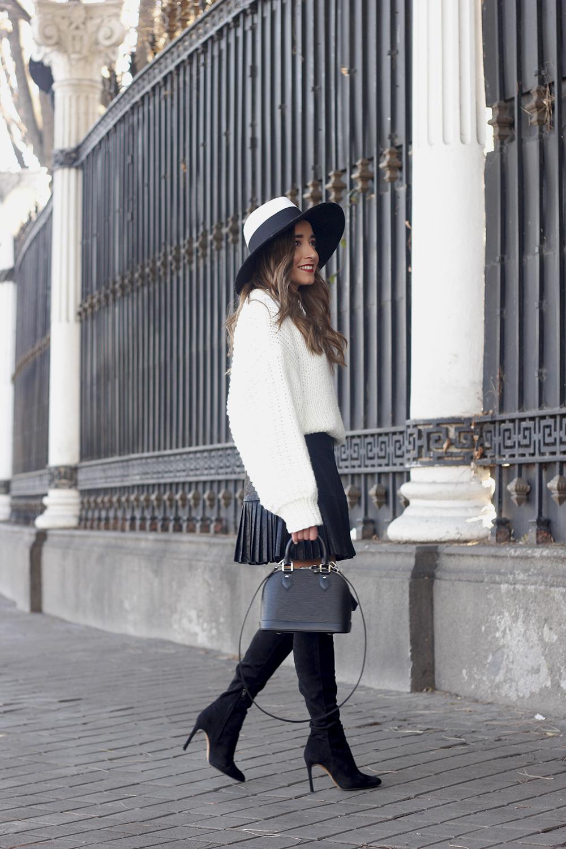 black pleated skirt  white sweater louis vuitton bag street style inspiration 20194