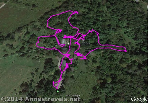 Visual map of my route around the Willowwood Arboretum, Morris County, New Jersey