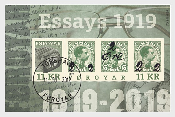 Faroe Islands - Provisional Stamps 1919 (January 11, 2019) miniature sheet cancelled to order (CTO)