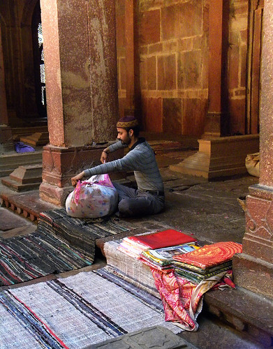 Vendor in the mosque in Fatehpur Sikri, a town outside of Agra in India